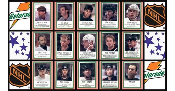 1997 Gatorade NHLPA Stickers Set of 24 (6 Panels of 4 stickers)
